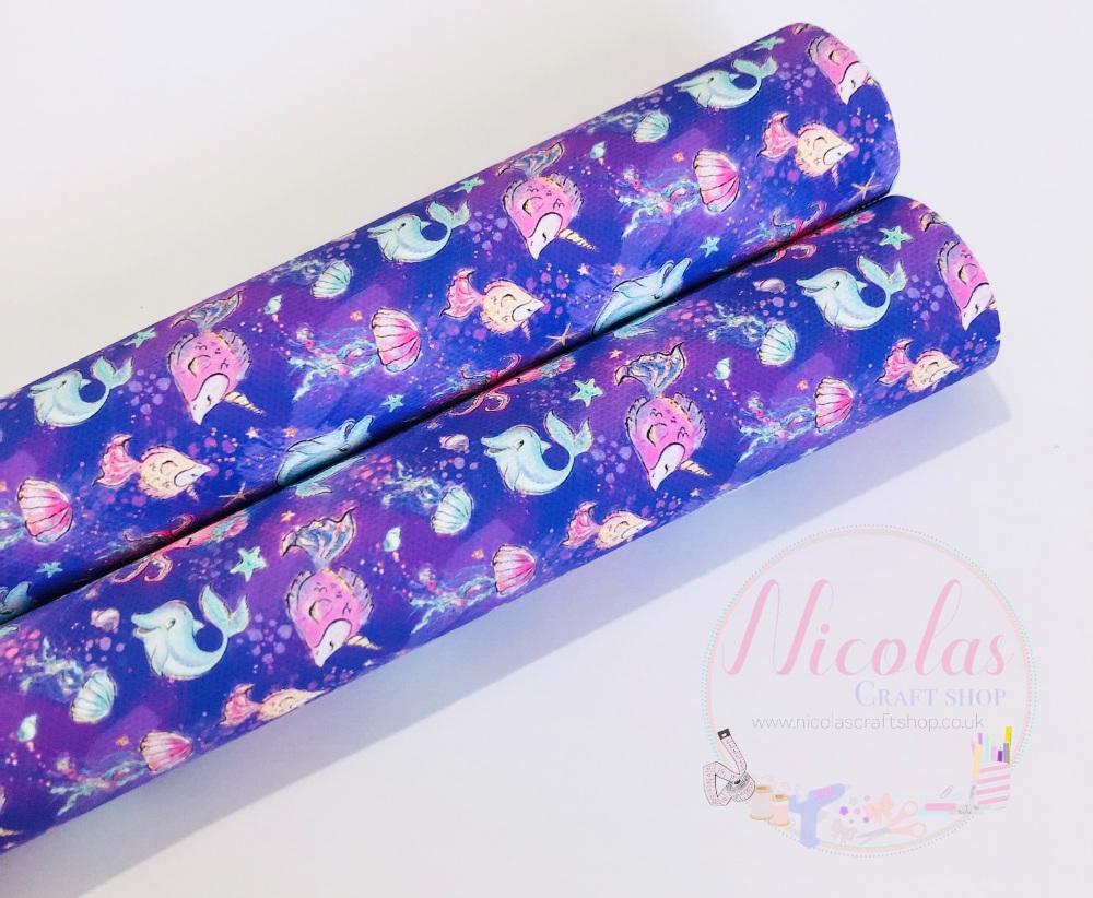 Pure Purple Under the sea printed canvas fabric