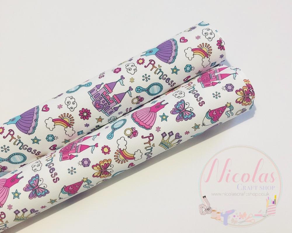 Princess castle clipart printed canvas fabric