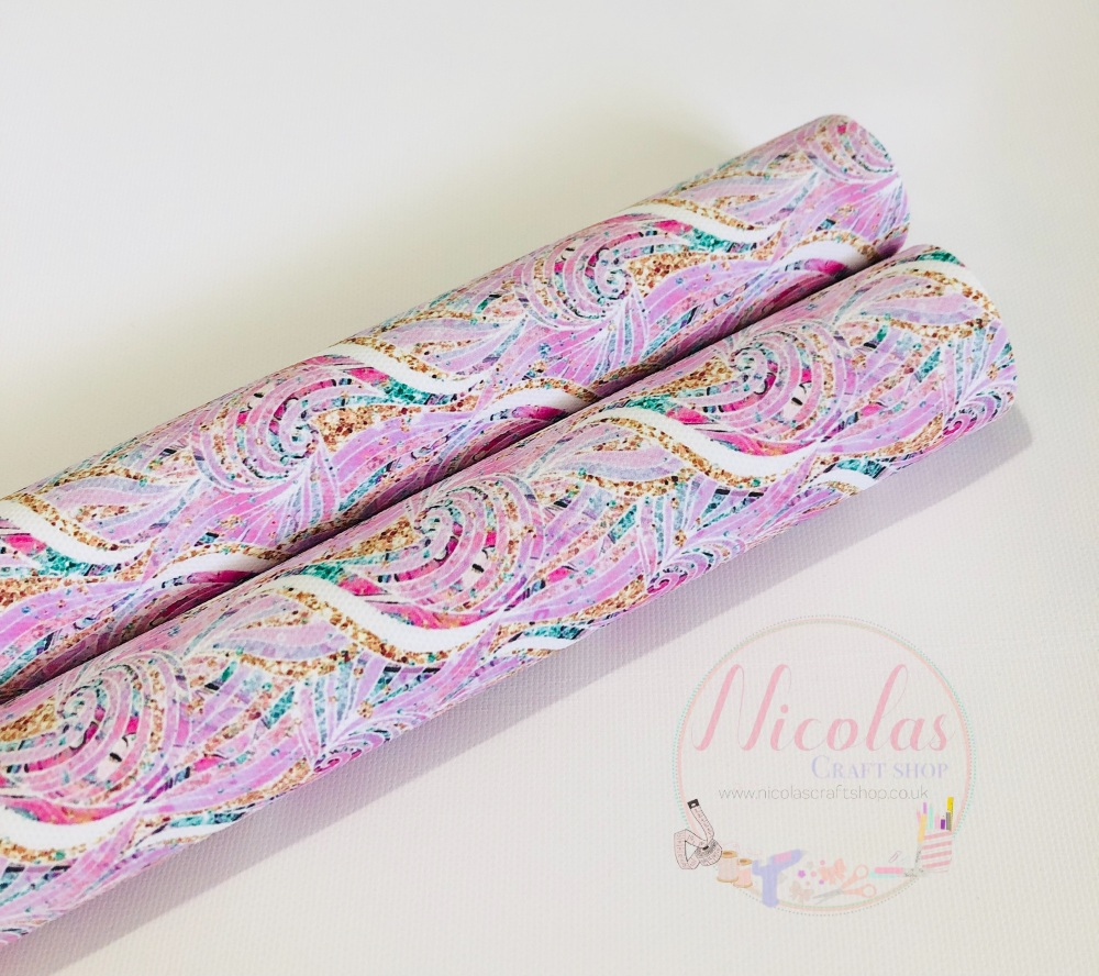 Pink swirly glitter pattern printed canvas fabric