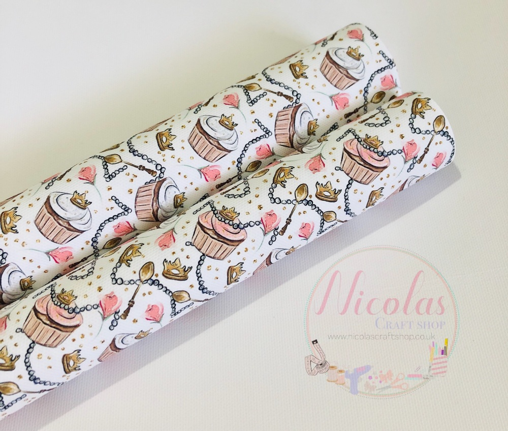 Cupcakes and tiaras printed canvas fabric