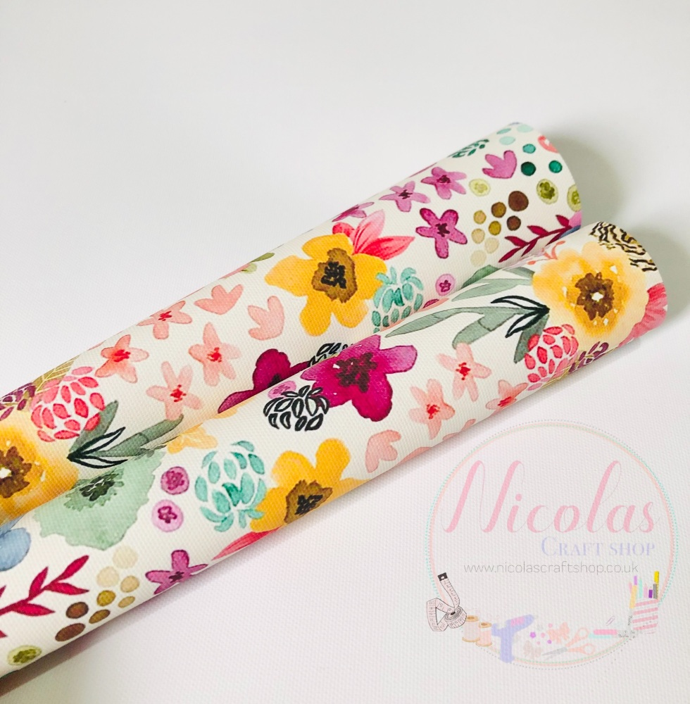 Large HandPainted Flower Printed canvas sheet