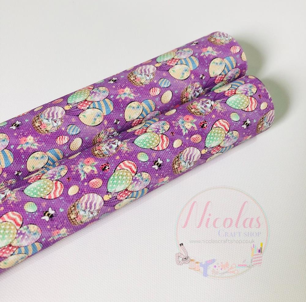 1421 - Lilac Purple crazy bunny balloon Printed canvas sheet