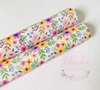 1422 - Bright pastel spring floral flower Printed canvas sheet