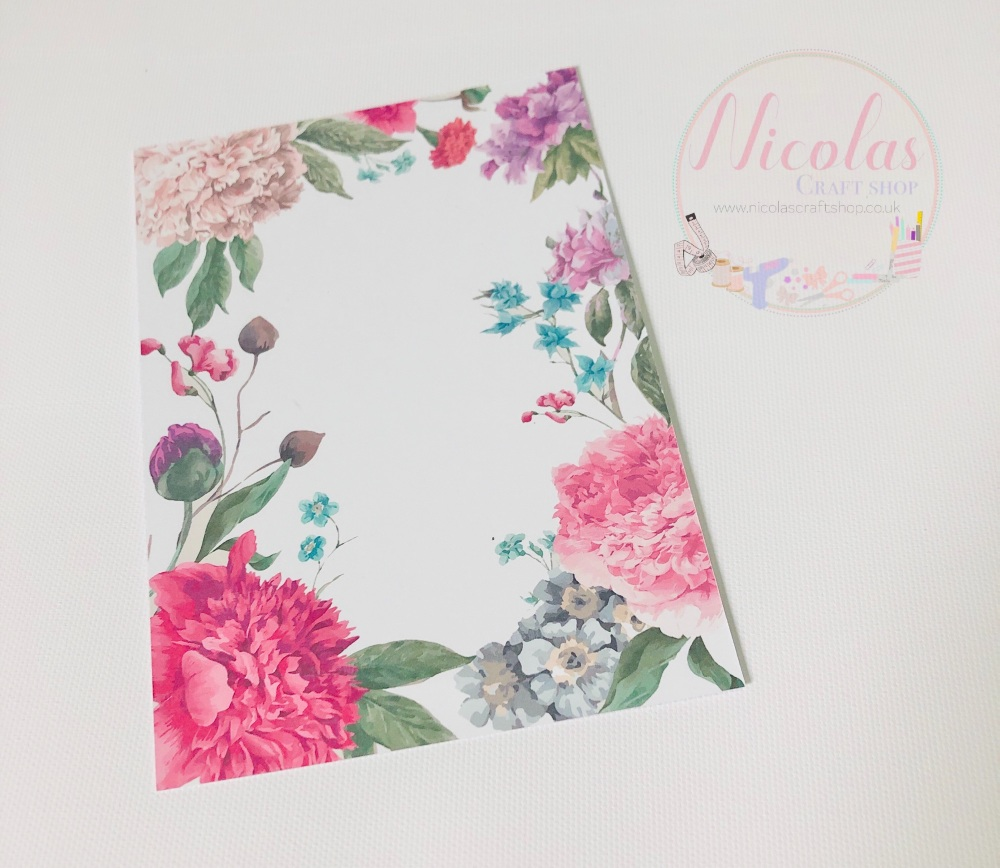 Large Floral printed bow cards