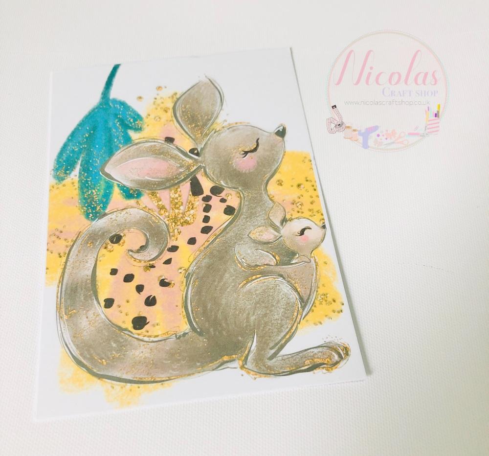 Mum & Me baby kangaroo printed bow cards