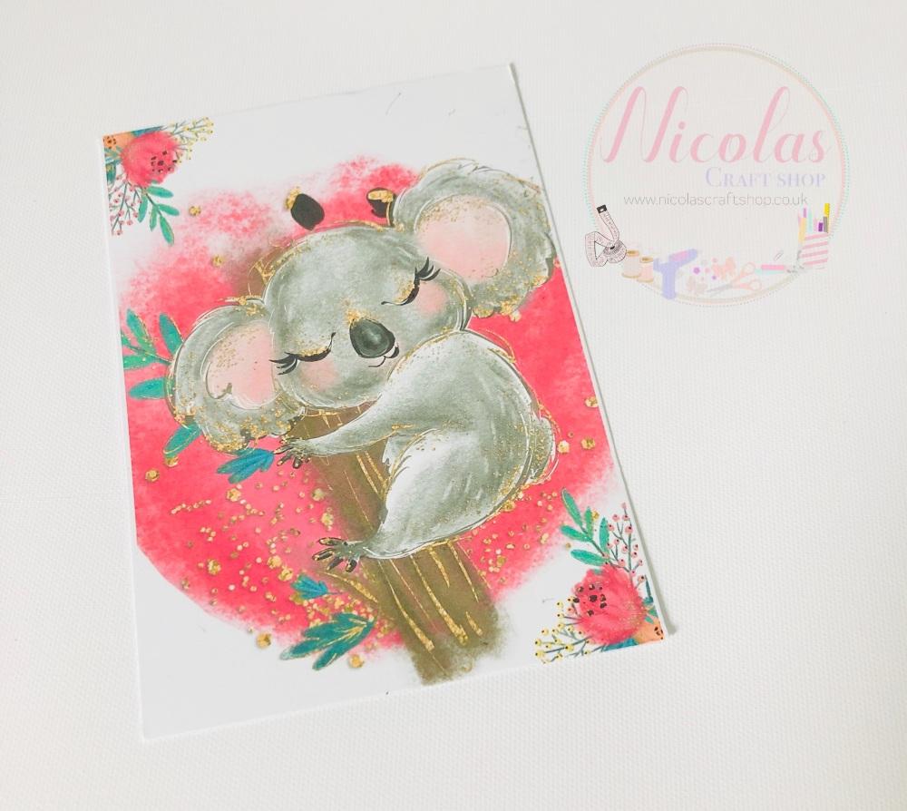 Cute Koala Bear printed bow cards