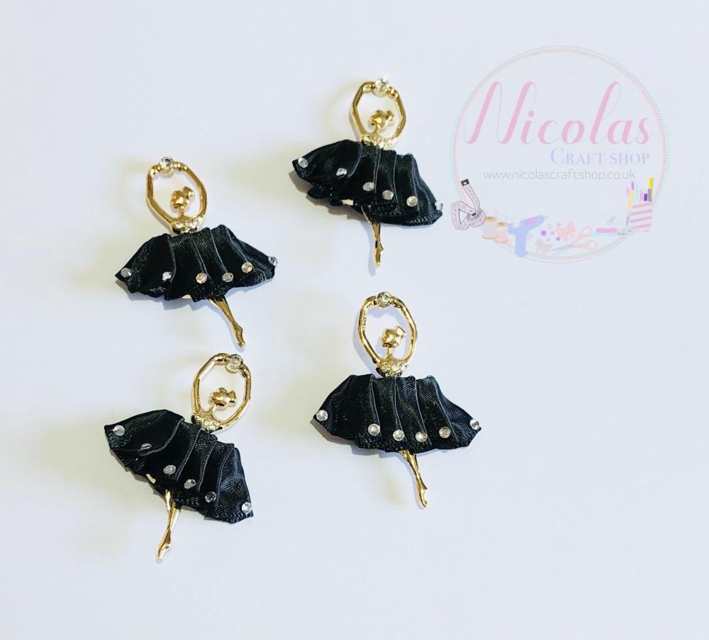 BLACK - Satin dress ballerina bling embellishment