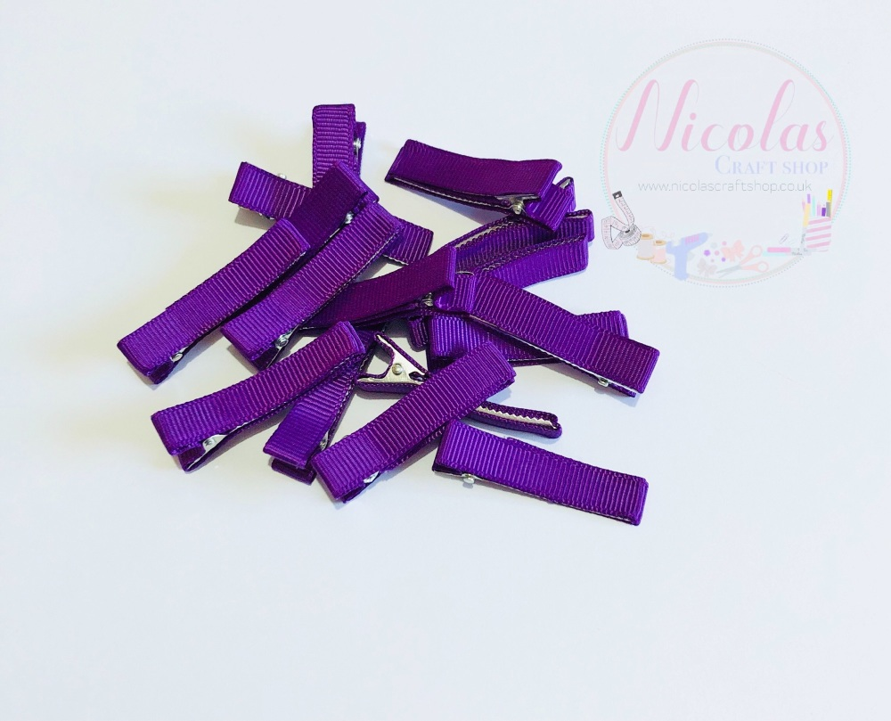 Cadbury Purple Pre lined 45mm alligator clips (pack of 10)