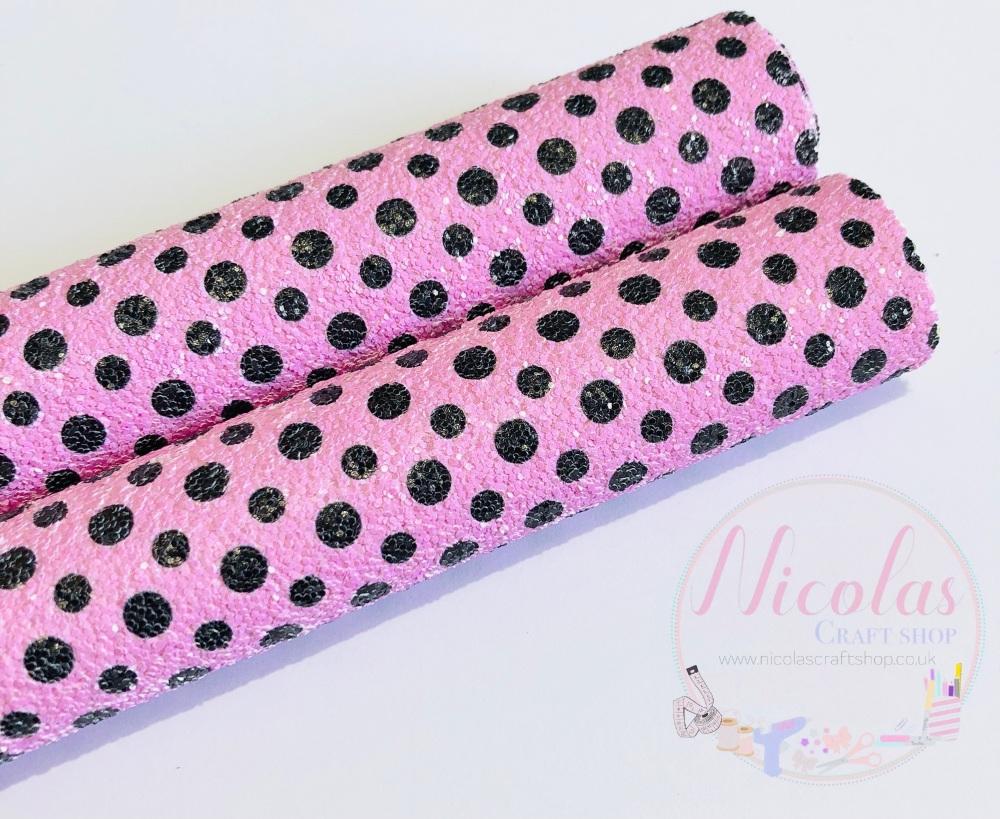 Pretty pink polka dot chunky glitter fabric