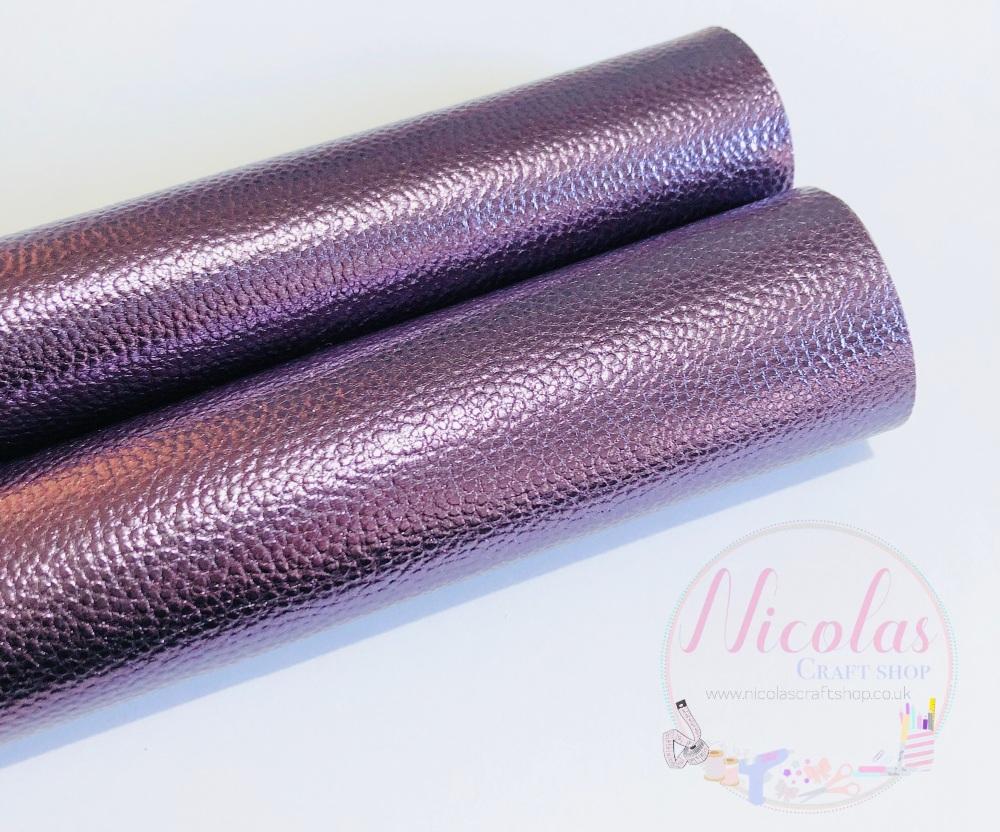 Steel Purple litchi leatherette