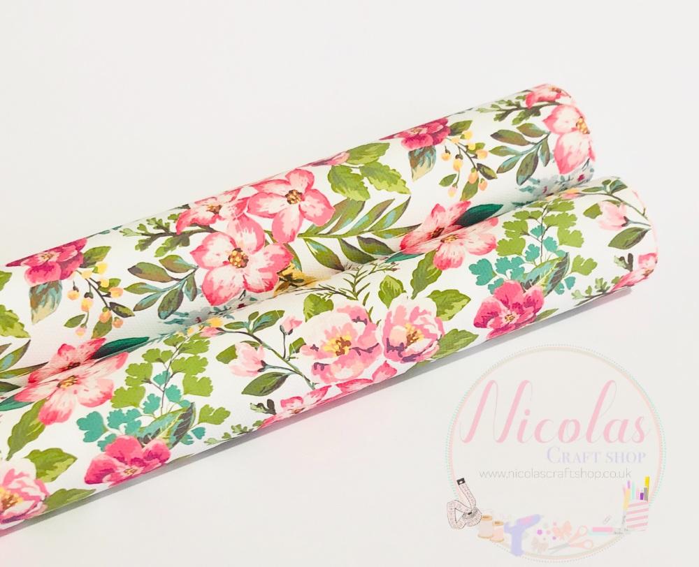 1431 - Rainforest Blossom floral printed canvas sheet