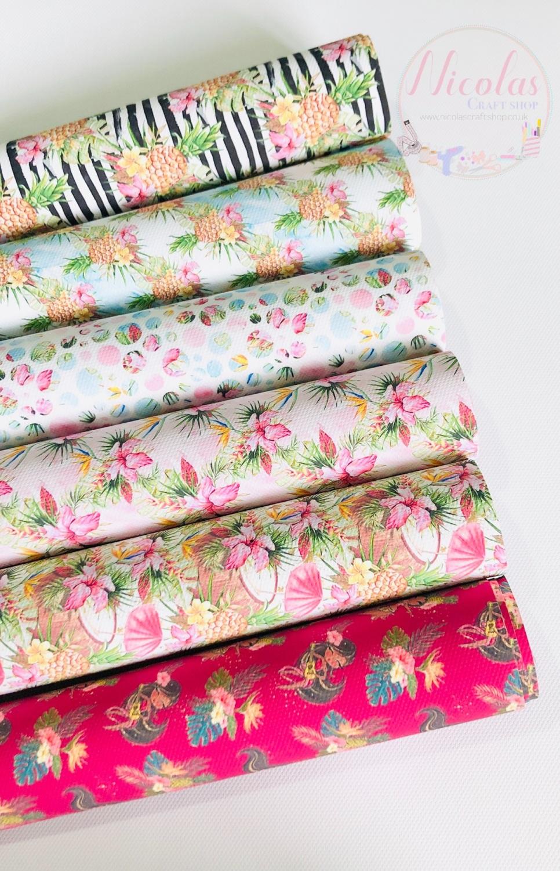 Tropical Hawaii Theme printed canvas bundle