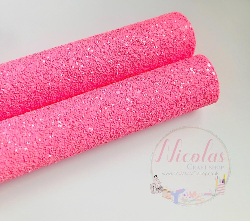 FLUORESCENT RANGE - NEON PINK chunky glitter fabric