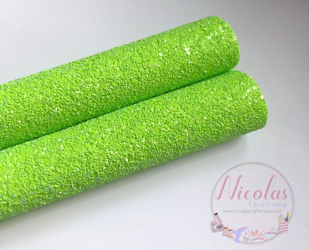 FLUORESCENT RANGE - NEON GREEN chunky glitter fabric