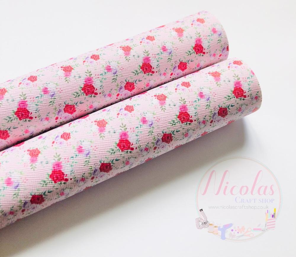 Light Pink Flower Printed leatherette