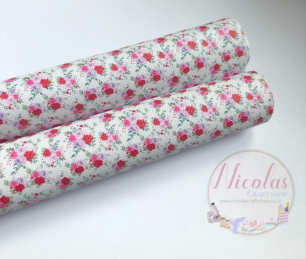 Creamy White Pink Flower Printed leatherette