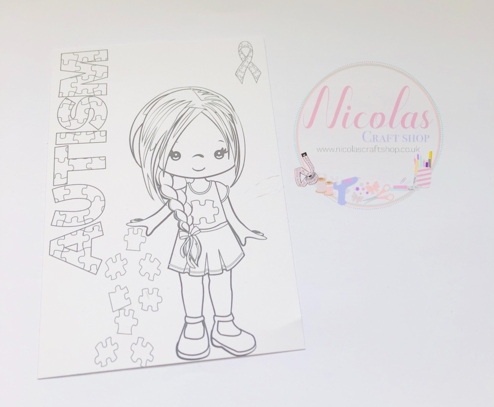Colour me in autism awareness girl printed bow cards