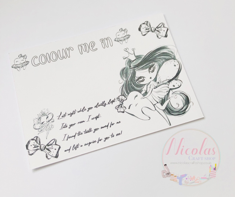 Colour me in - Tooth Fairy Bow cards