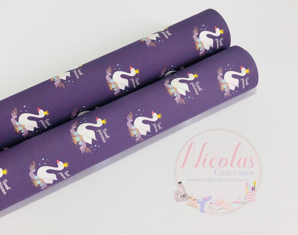 1435 - Purple Swan sweet princess printed canvas sheet