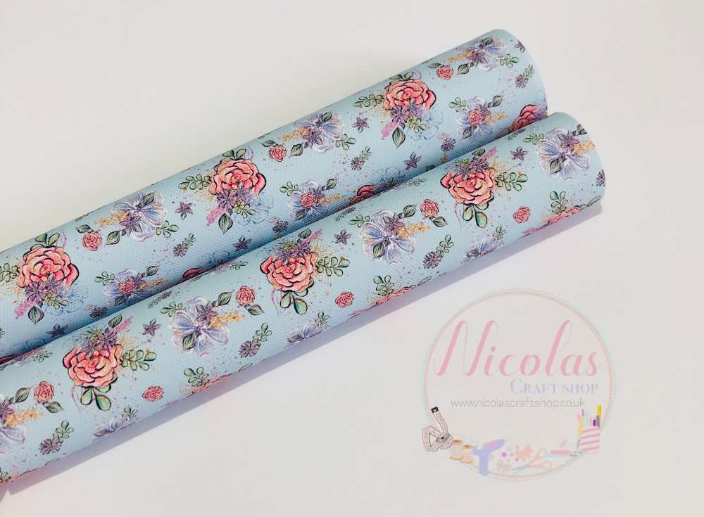 1439 - Baby blue light floral spring  printed canvas sheet