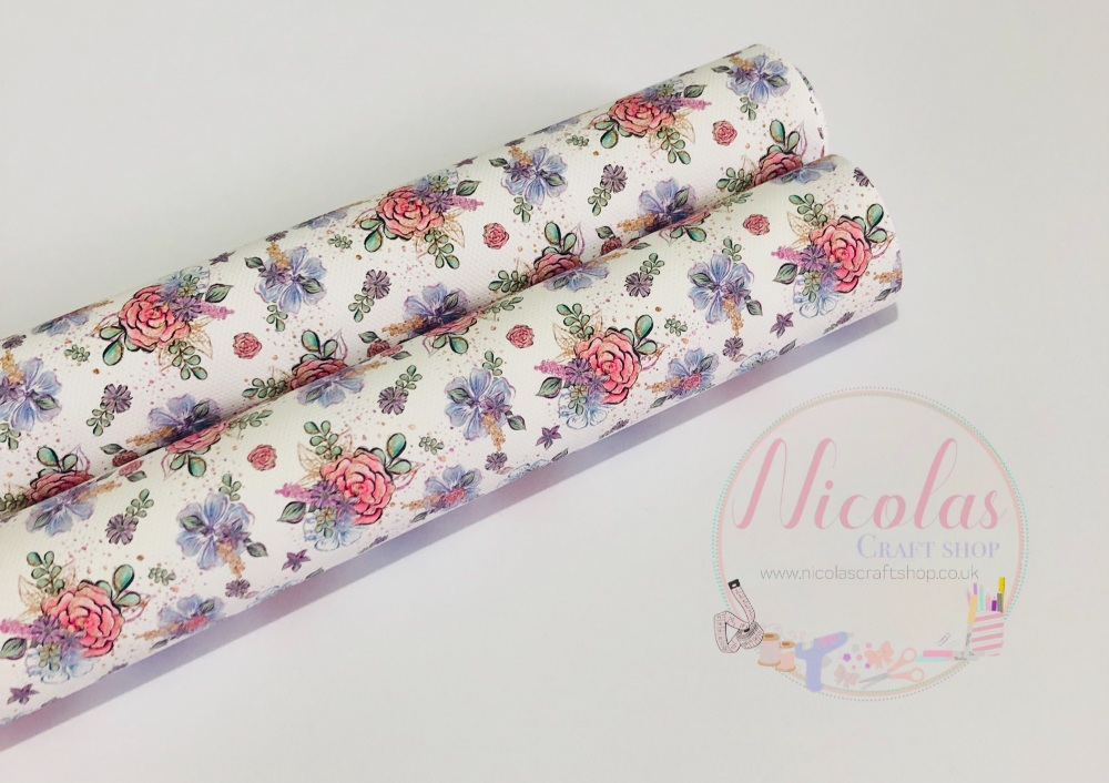 1440 - White light floral spring  printed canvas sheet