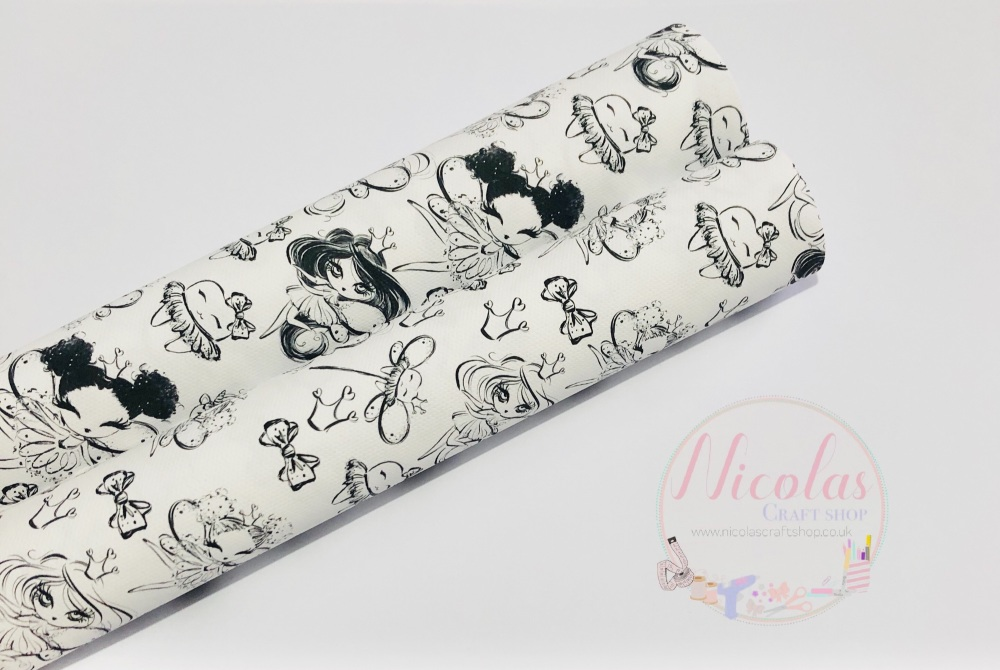 1445 - Colour me in Tooth Fairy printed canvas sheet