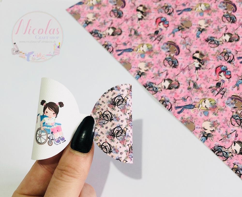 Wheelchair pink floral pattern printed pre cut bow loop