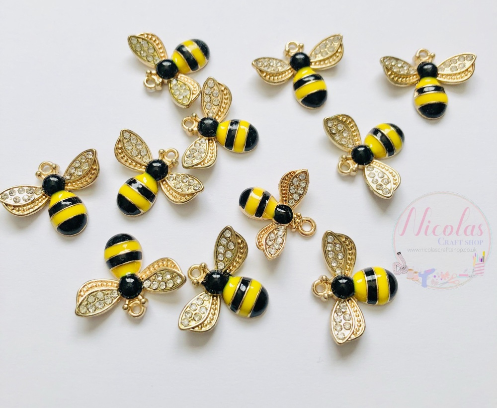 Bumble bee bling charm embellishment