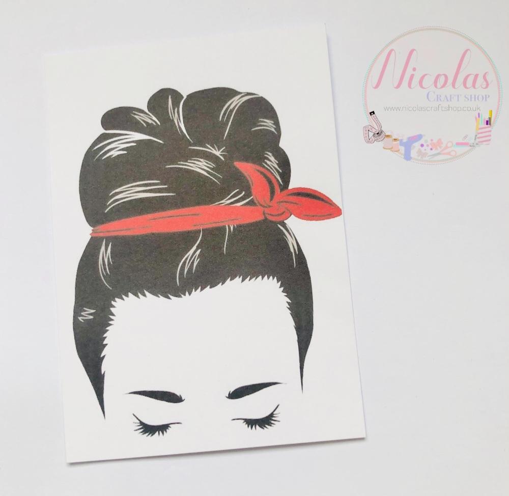 Red Bandana Girl printed bow card