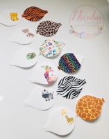 Safari theme printed pre cut bow loops