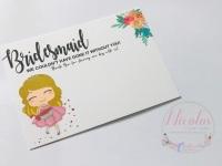 Blonde Bridesmaid thank you printed bow card