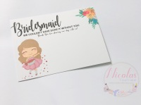 Brown hair Bridesmaid thank you printed bow card