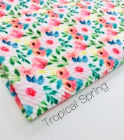 Tropical Spring floral flower Printed Bullet Fabric