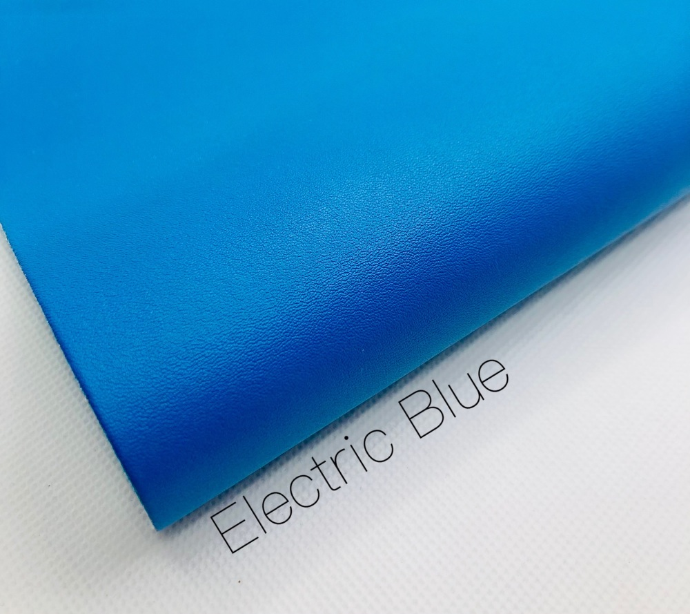 Smooth Plain Electric blue synthetic leather
