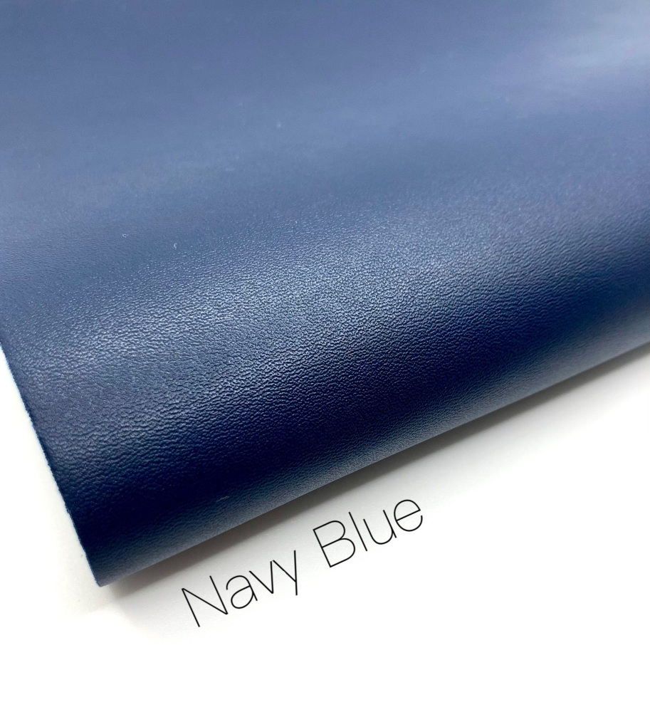 Smooth Navy blue plain leather a4
