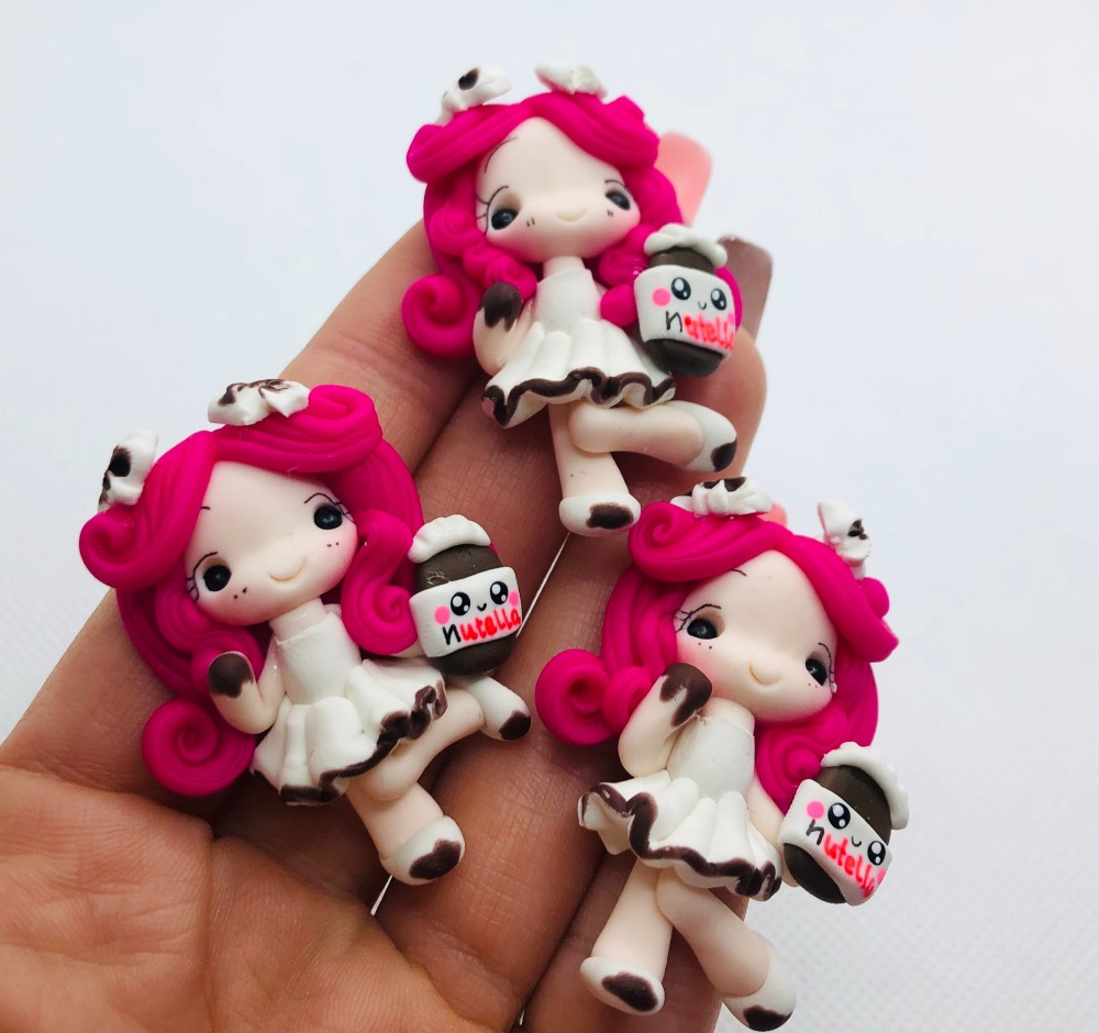 Pink hair Nutella Girl polymer girl clay