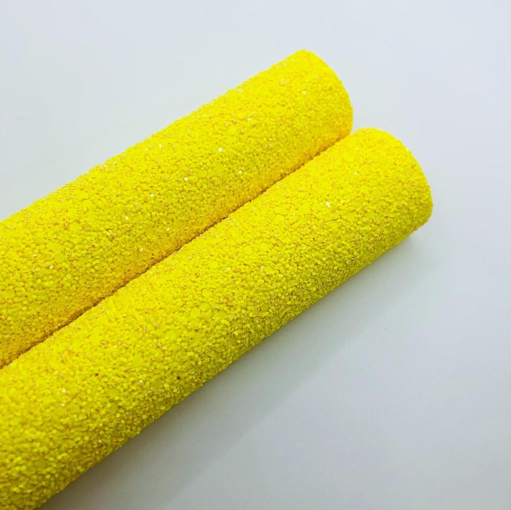 FLUORESCENT RANGE - YELLOW chunky glitter fabric
