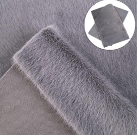 Grey fur fabric
