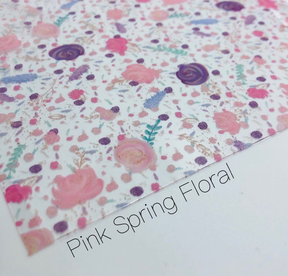 Spring Pink purple floral transparent jelly fabric