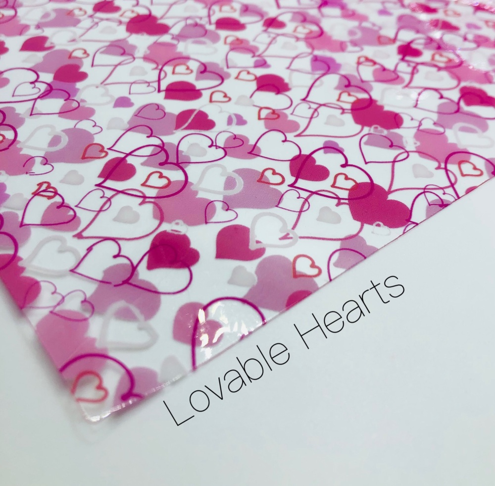 Pink scribble Love heart valentine  printed transparent jelly fabric
