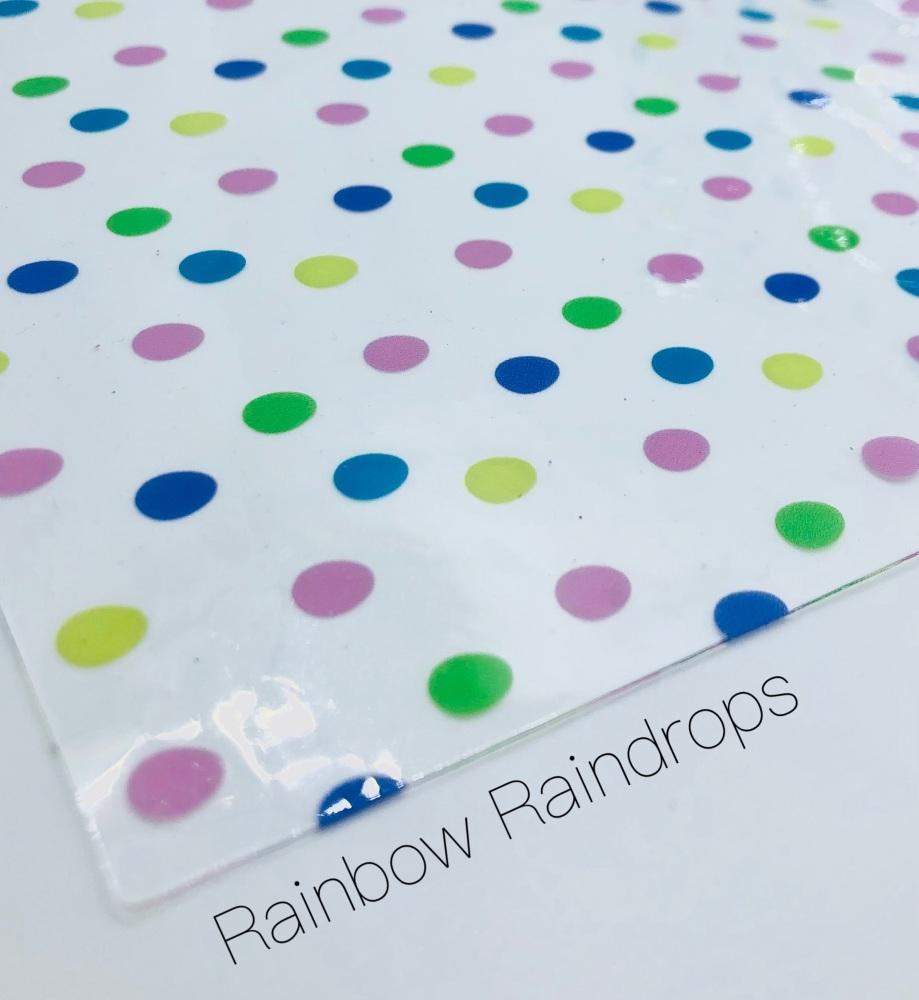 Rainbow Raindrops printed transparent jelly fabric