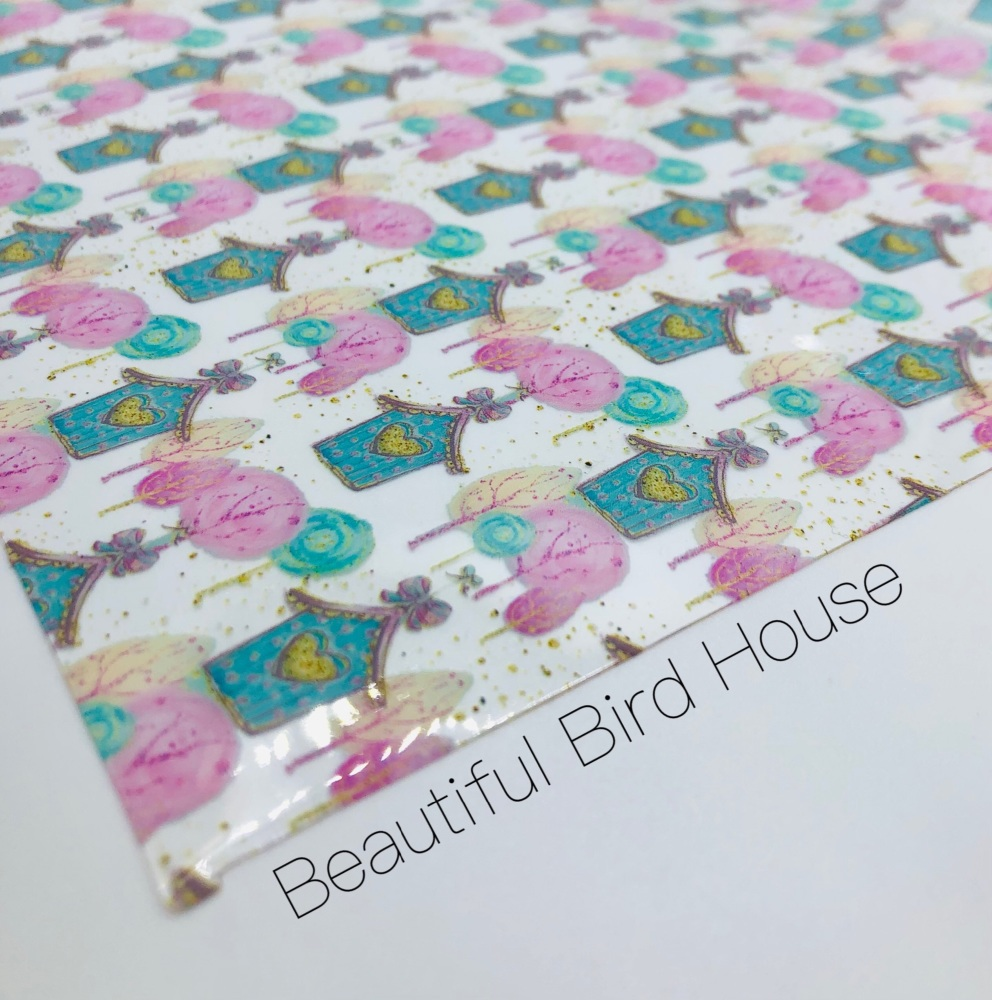 Beautiful Bird House printed transparent jelly fabric