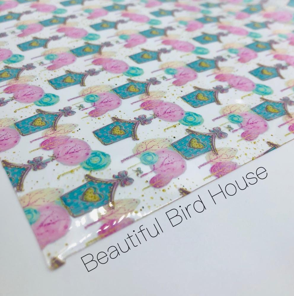 Beautiful Bird House printed transparent jelly fabric
