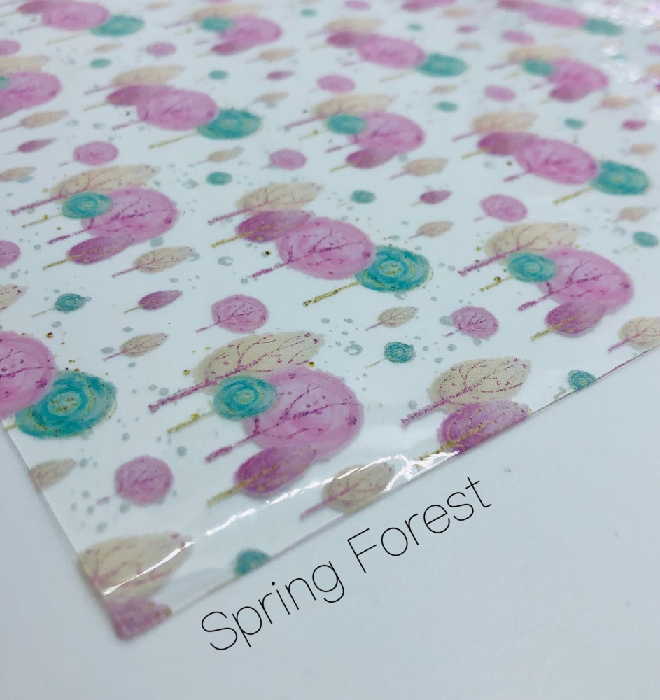 Spring Forest printed transparent jelly fabric