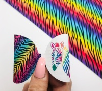 Zebra print Bright Rainbow pre cut bow loop