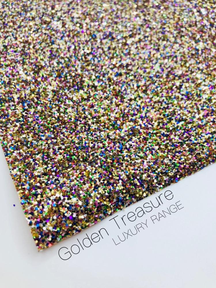 LUXURY -  Golden Treasure chunky glitter fabric