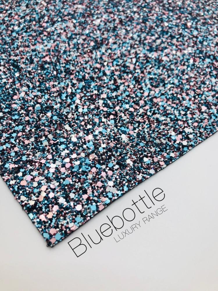 LUXURY -  Blue Bottle Mixed chunky glitter fabric