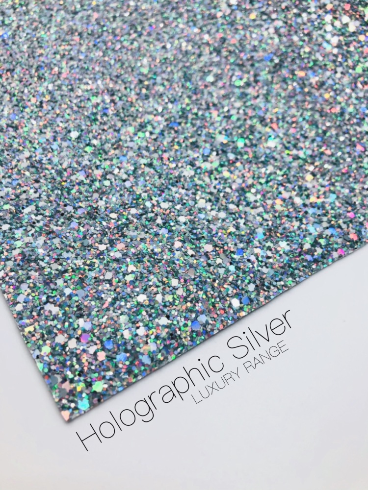LUXURY -  Holo Silver chunky glitter fabric