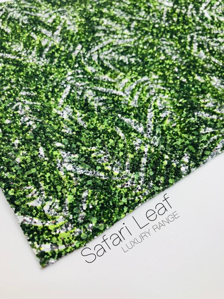 LUXURY -  Safari collection - Jungle Leaves chunky glitter fabric