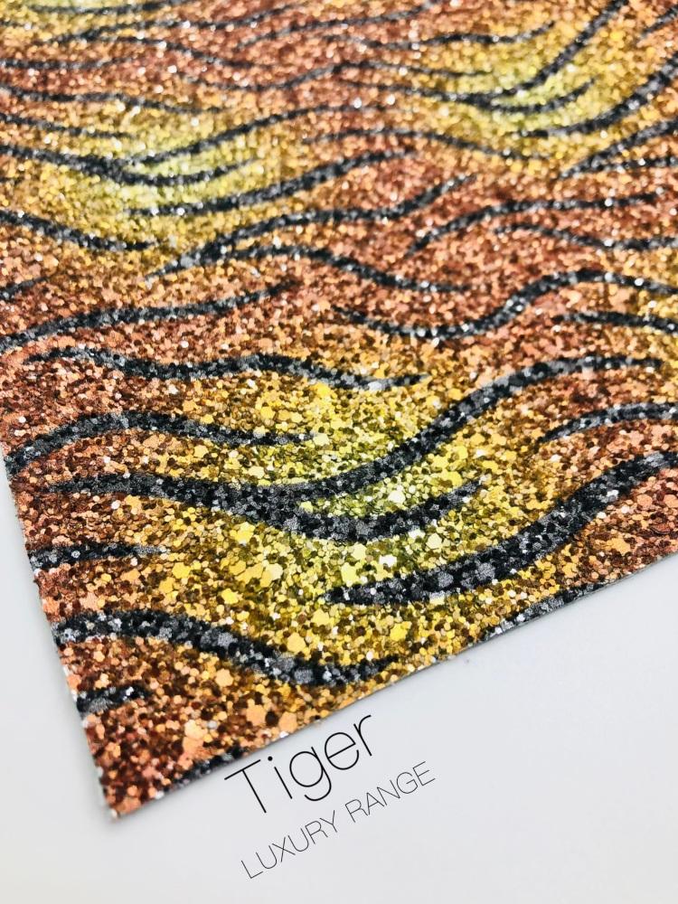 LUXURY -  Safari collection - Tiger chunky glitter fabric